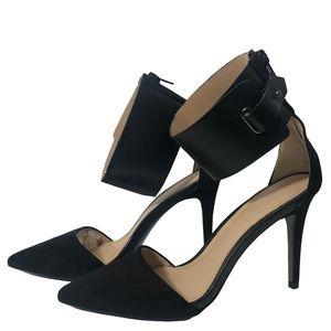 Zara Leather Ankle Strap Suede Heels in Black